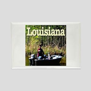 Louisiana Fisherman Rectangle Magnet