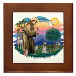 St Francis #2/ Schnauzer #1 Framed Tile
