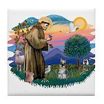 St Francis #2/ Schnauzer #1 Tile Coaster