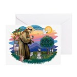 St Francis #2/ Schnauzer #1 Greeting Cards (Pk of