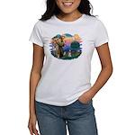 St Francis #2/ Schnauzer #1 Women's T-Shirt