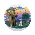 St Francis #2/ Schnauzer #2 Ornament (Round)