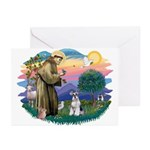 St Francis #2/ Schnauzer #2 Greeting Cards (Pk of