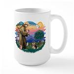 St Francis #2/ Pomeranian (T) Large Mug