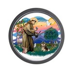 St Francis #2/ Pomeranian (T) Wall Clock