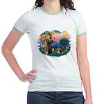 St Francis #2/ Pomeranian (T) Jr. Ringer T-Shirt
