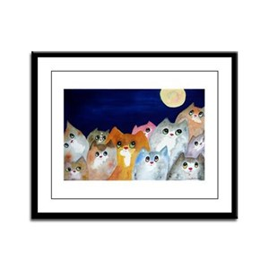 Moon Viewing Cats 3 Framed Panel Print