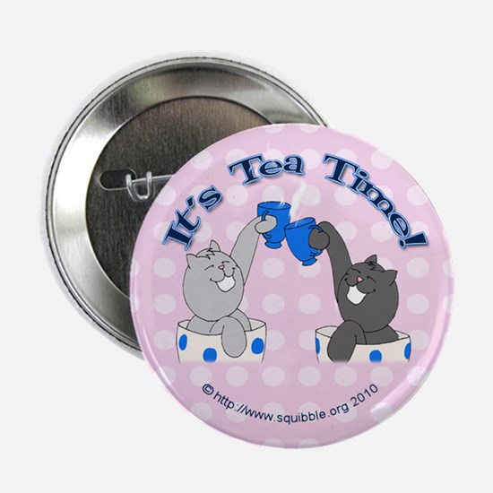 "Teacup Lolcats 2.25"" Button - 'It's Tea Time!"