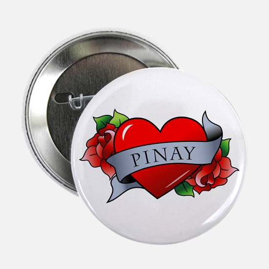 "Heart & Rose - Pinay 2.25"" Button"