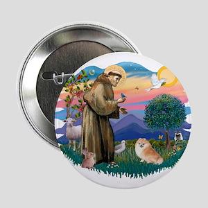"St Francis #2/ Pomeranian (r) 2.25"" Button"