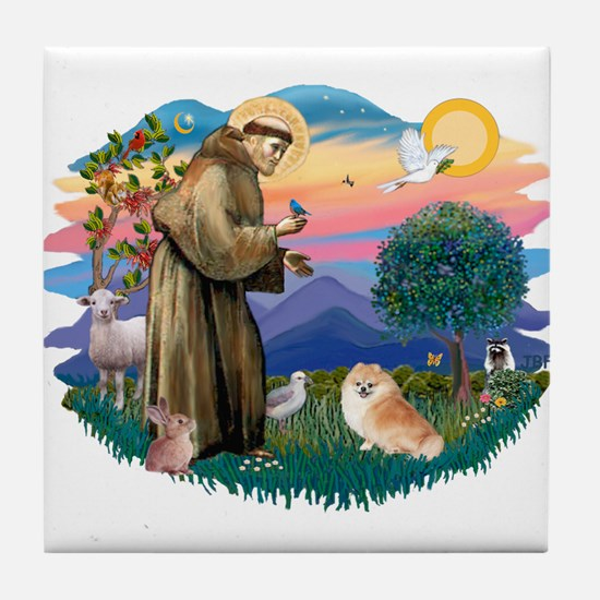 St Francis #2/ Pomeranian (r) Tile Coaster