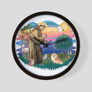 St Francis #2/ Pomeranian (r) Wall Clock