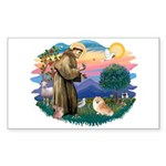 St Francis #2/ Pomeranian (r) Sticker (Rectangle 1