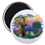 St Francis #2/ Pomeranian (s&w) Magnet