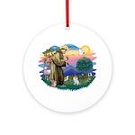 St Francis #2/ Pomeranian (s&w) Ornament (Round)