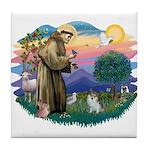 St Francis #2/ Pomeranian (s&w) Tile Coaster