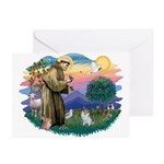 St Francis #2/ Pomeranian (s&w) Greeting Cards (Pk