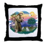 St Francis #2/ Pomeranian (s&w) Throw Pillow