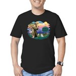St Francis #2/ Pomeranian (s&w) Men's Fitted T-Shi