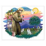 St Francis #2/ Pomeranian (s&w) Small Poster