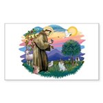 St Francis #2/ Pomeranian (s&w) Sticker (Rectangle