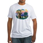 St Francis #2/ Pomeranian (s&w) Fitted T-Shirt