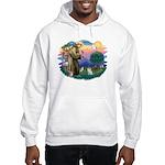 St Francis #2/ Pomeranian (s&w) Hooded Sweatshirt