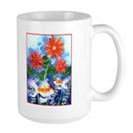 Fish and Flowers Art Large Mug