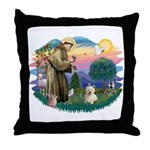 St Francis #2/ Westie #1 Throw Pillow
