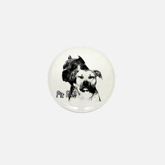 two heads pit bull design Mini Button