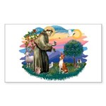 St Francis #2/ Basenji Sticker (Rectangle 10 pk)