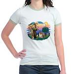 St Francis #2/ Chow (B) Jr. Ringer T-Shirt