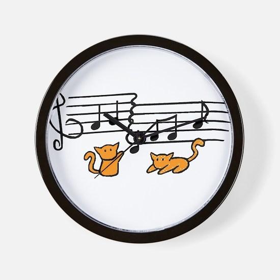 Orange Kitty Notes Wall Clock