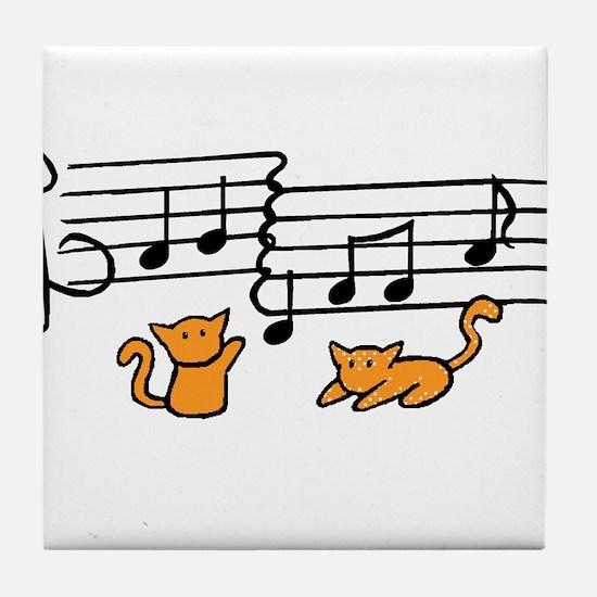 Orange Kitty Notes Tile Coaster