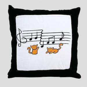 Orange Kitty Notes Throw Pillow