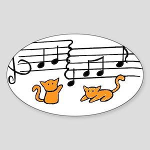 Orange Kitty Notes Sticker (Oval)
