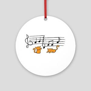 Orange Kitty Notes Ornament (Round)