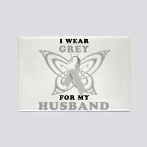 I Wear Grey for my Husband Rectangle Magnet