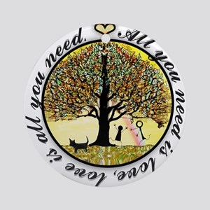 Tree of Life All You Need is Love Round Ornament