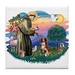 St Francis #2/ Aus Shep (red) Tile Coaster