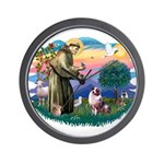 St Francis #2/ Aus Shep (merle) Wall Clock