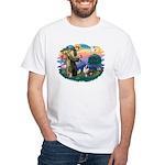 St Francis #2/ Aus Shep (merle) White T-Shirt