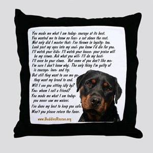 Only Thing, Rottweiler Throw Pillow