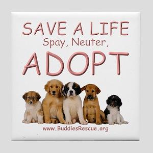 Spay Neuter Adopt - Tile Coaster