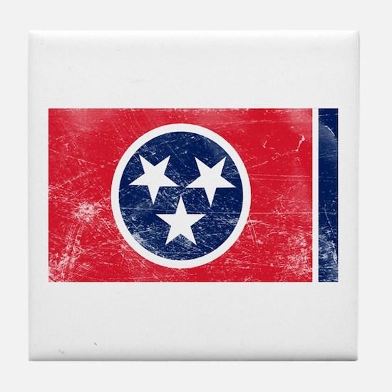 Vintage TN State Flag Tile Coaster