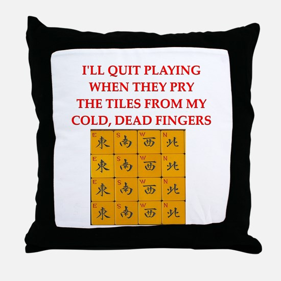mahjong player joke Throw Pillow