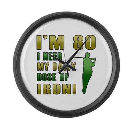 80th Birthday Golf Humor Large Wall Clock