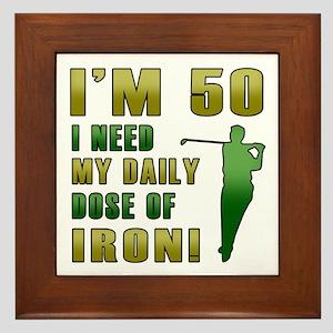 50th Birthday Golf Humor Framed Tile