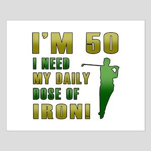 50th Birthday Golf Humor Small Poster