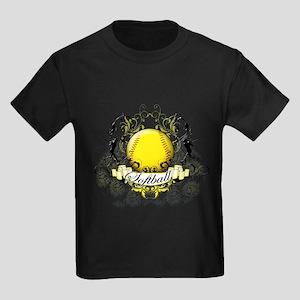 Softball Tribal Kids Dark T-Shirt